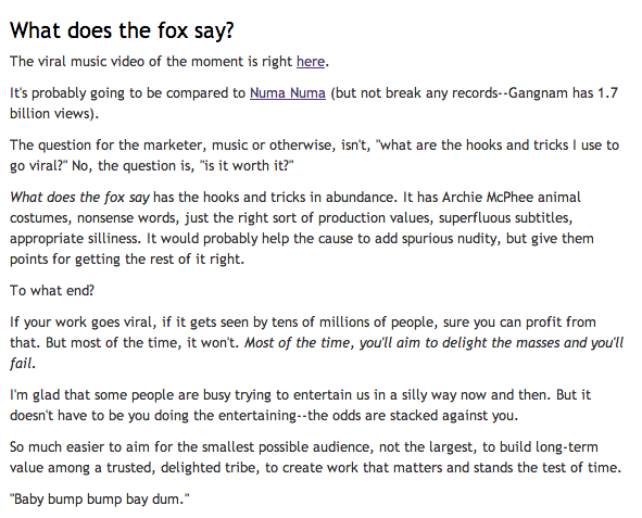 Seth Godin What Did the Fox Say