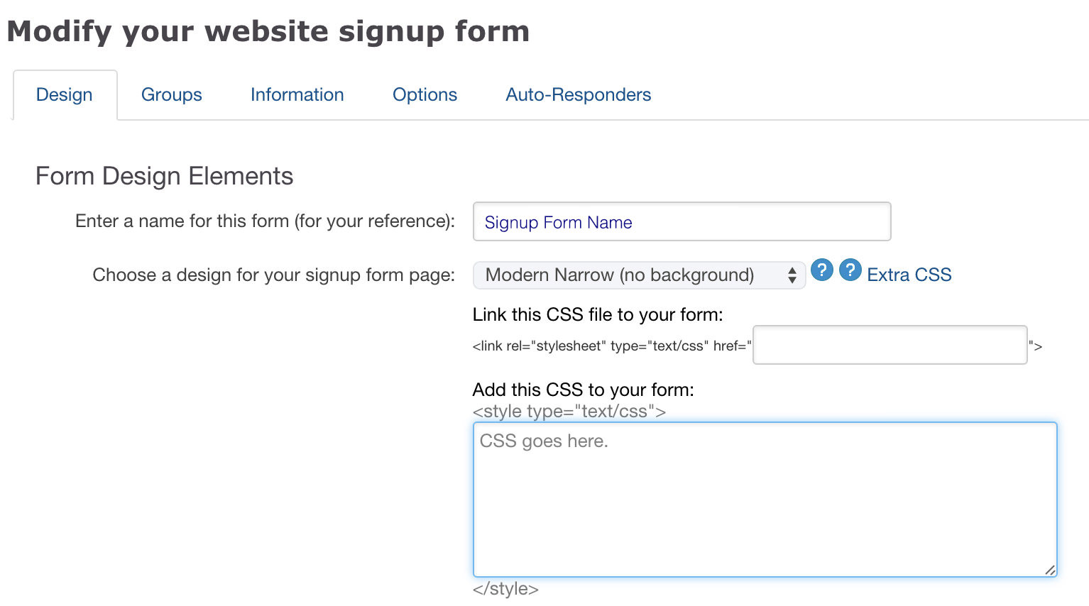 Build custom signup forms