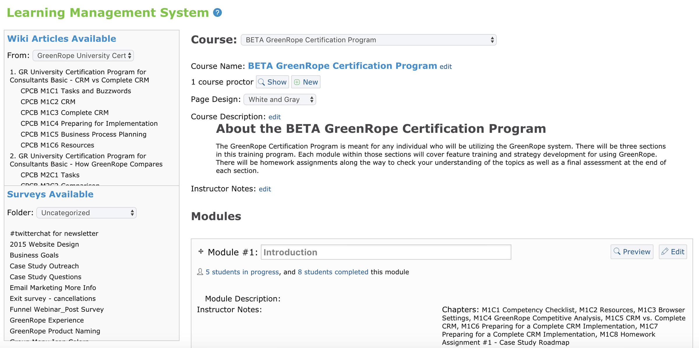 GreenRopes Learning Management System